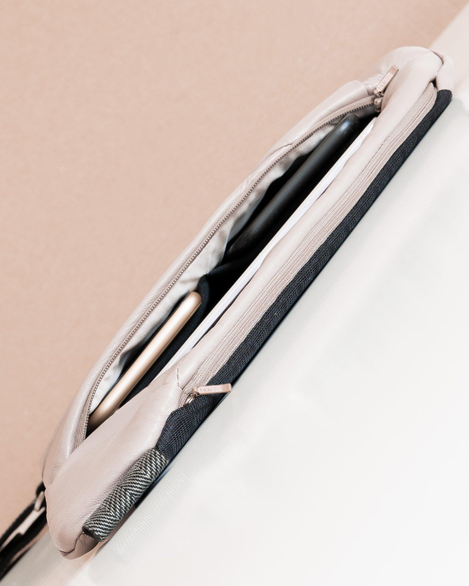 Slim leather crossbody Baggizmo bag with YKK zippers
