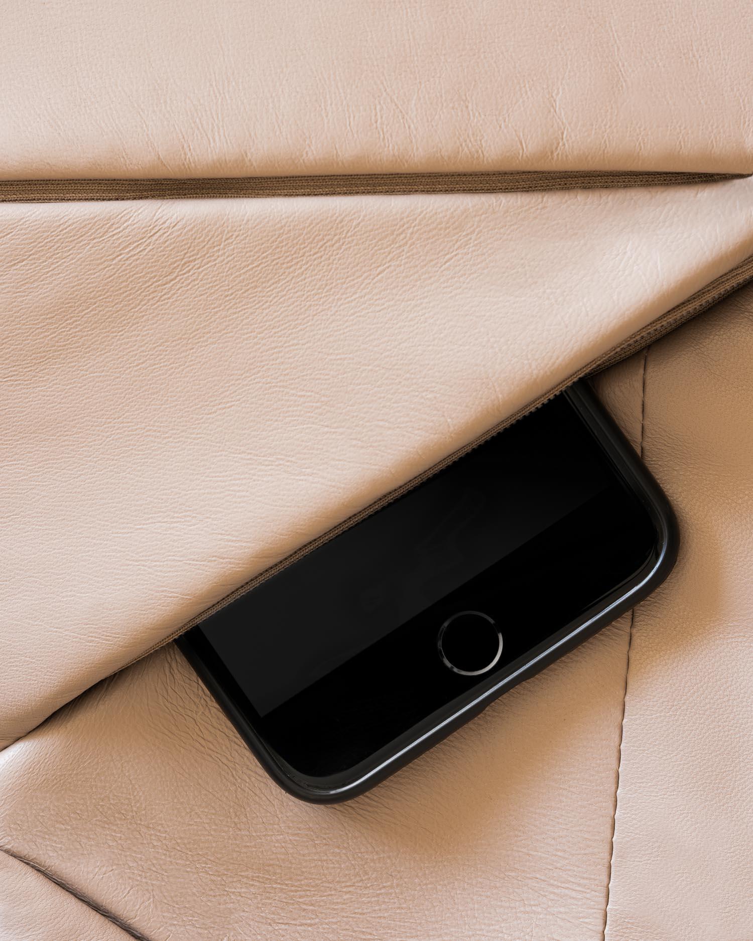 Italian Nappa leather crossbody bag closeup with iPhone