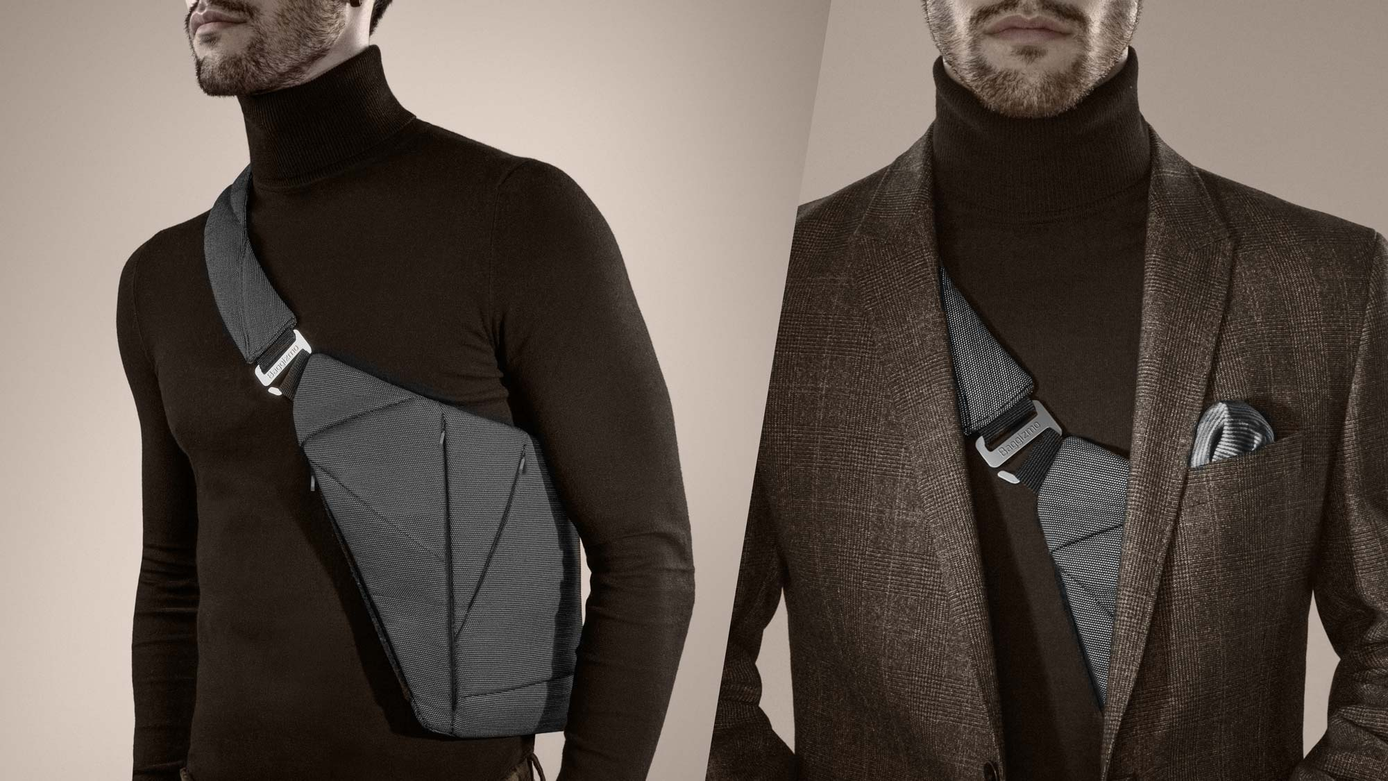 Man in turtleneck and blazer wearing grey crossbody bag for men