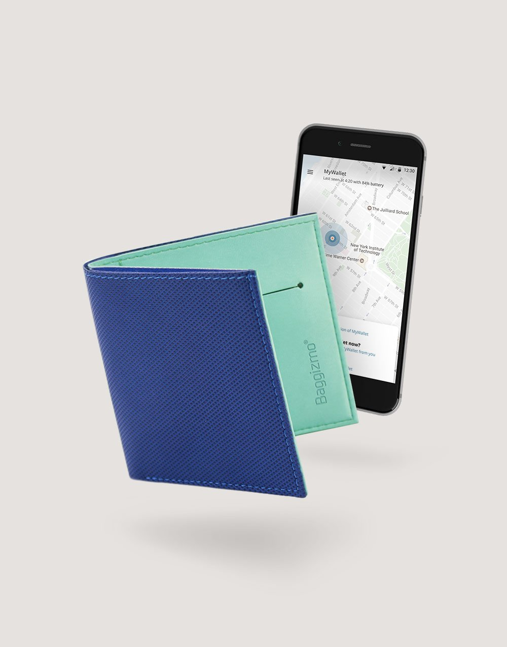 Baggizmo Wiseward smart wallet in true blue color and smart phone with Baggizmo app