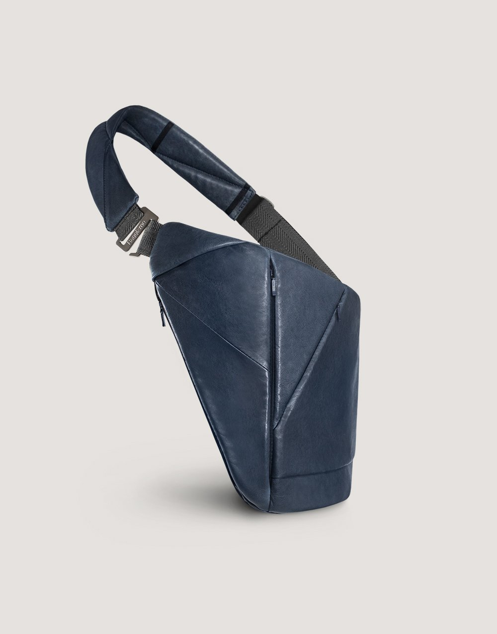 Blue leather crossbody bag with many pockets by Baggizmo