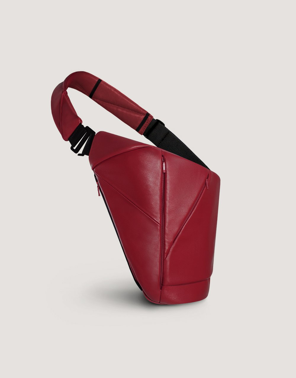 Red leather crossbody bag with many pockets by Baggizmo