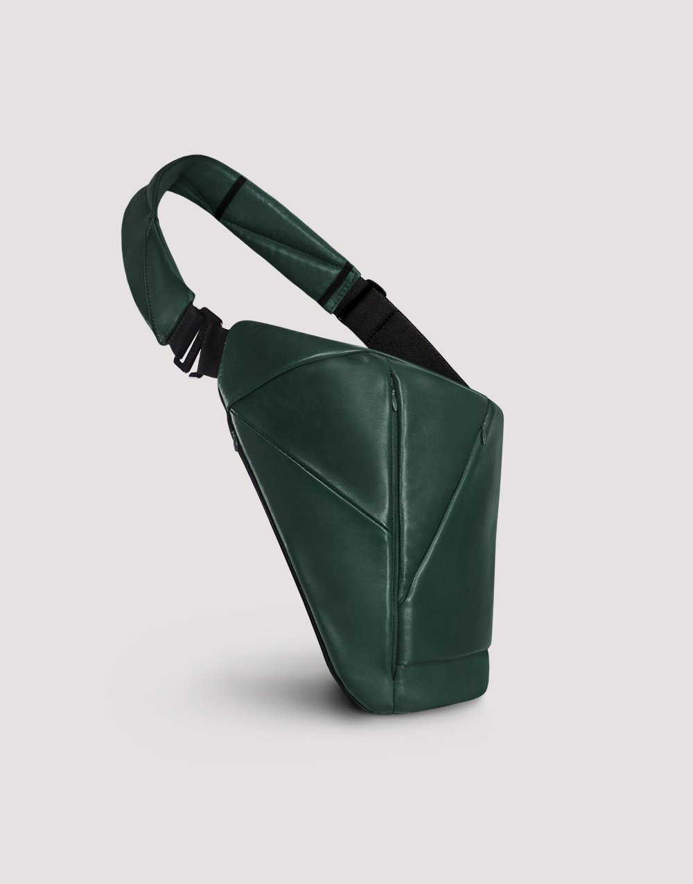 Green leather crossbody bag with many pockets by Baggizmo
