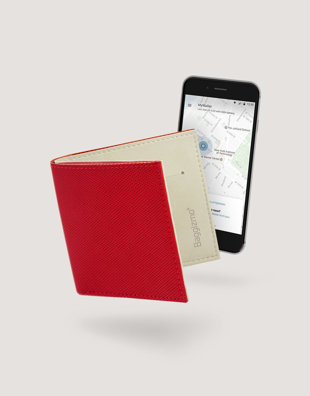 Baggizmo Wiseward smart wallet in cardinal red color connected to Baggizmo app