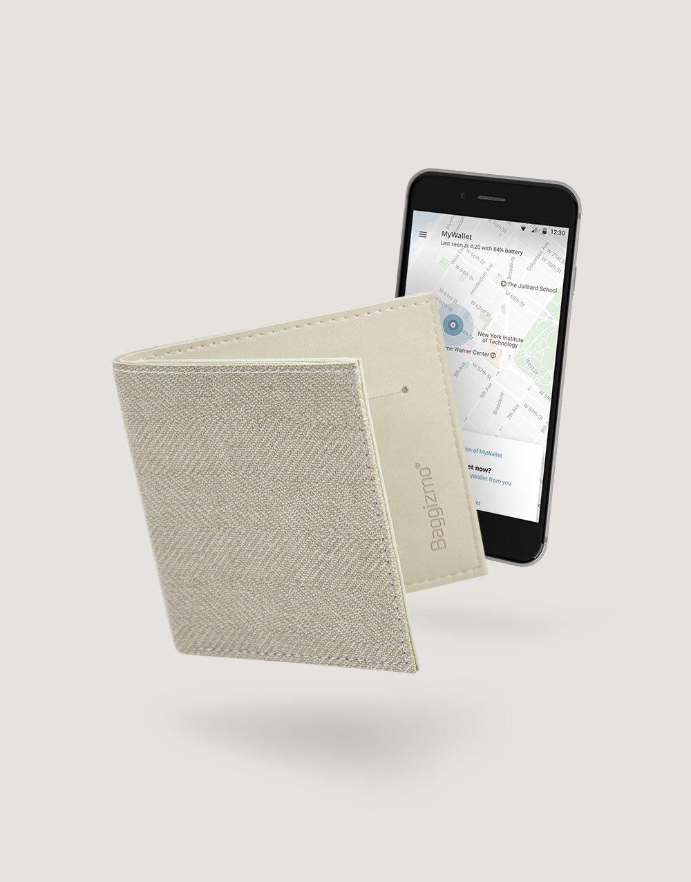 Baggizmo Wiseward smart wallet in sandy beige color connected to Baggizmo app