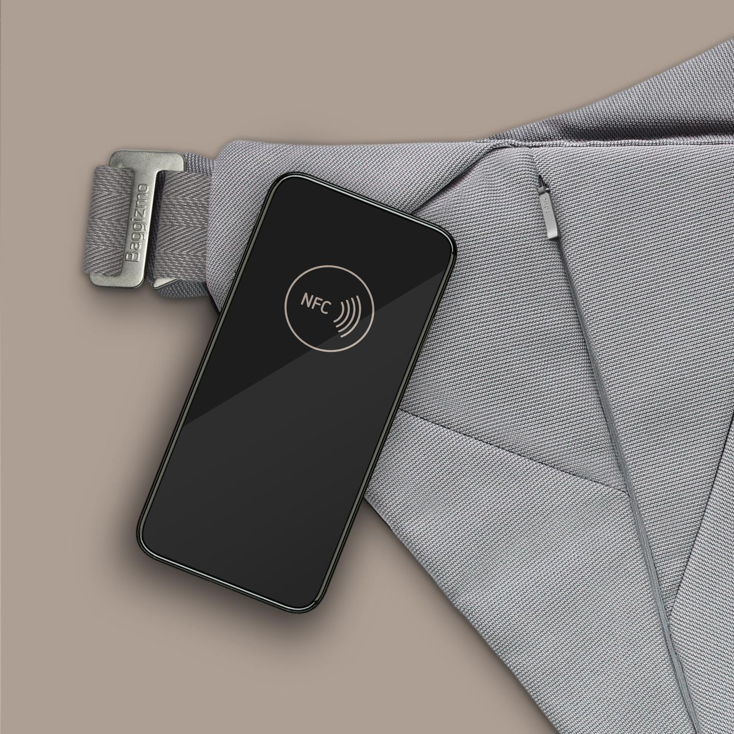 Smart phone scanning NFC tag in Baggizmo smart bag