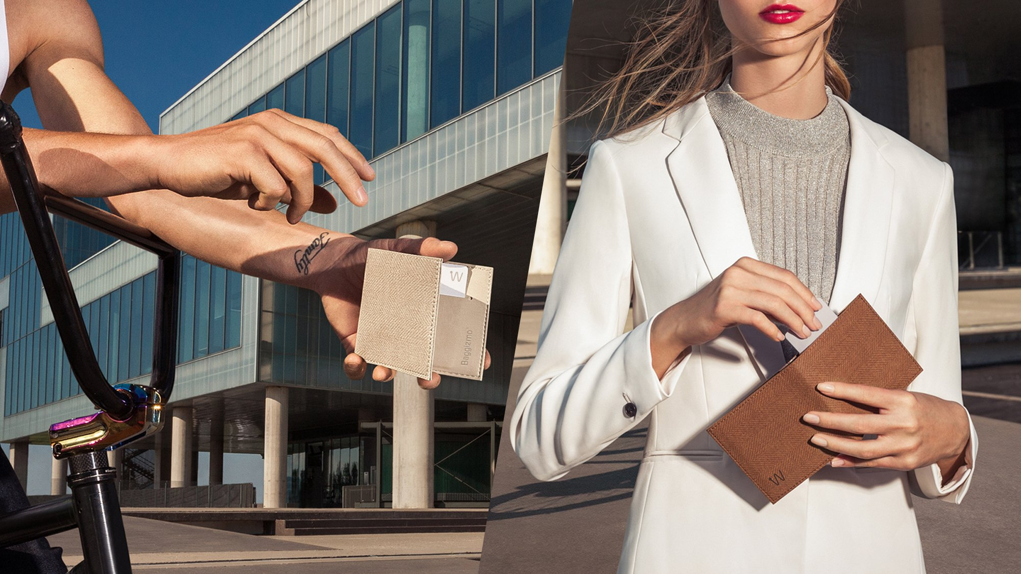Beige and brown modern smart wallets for men and women
