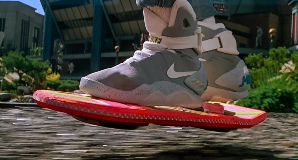 Nike sneakers from back to the future and hoverboard in action