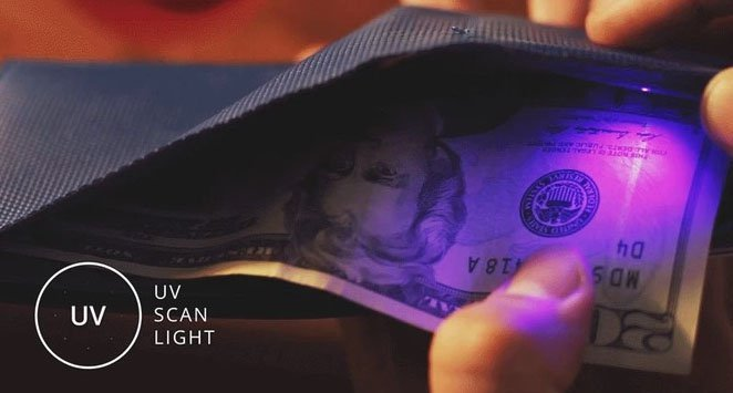 Opened smart wallet with a twenty USD with a glowing UV lamp, Ultraviolet scan light, showing counterfeit money