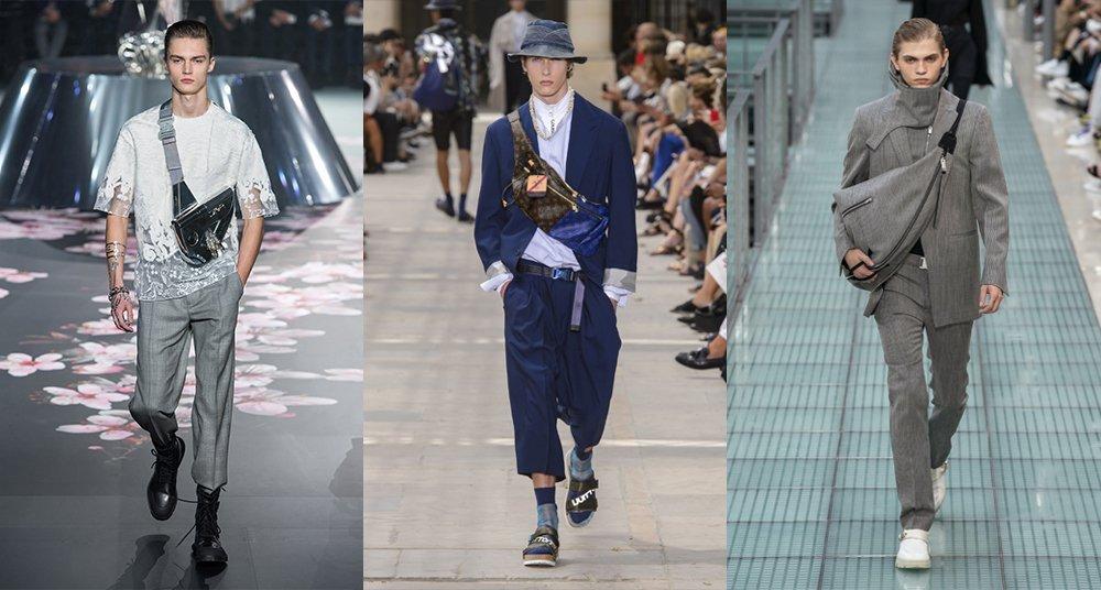 Designer slings bags for men on the runway