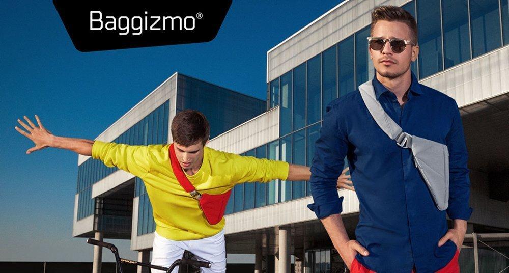 Men wearing colorful Baggizmo sling bags