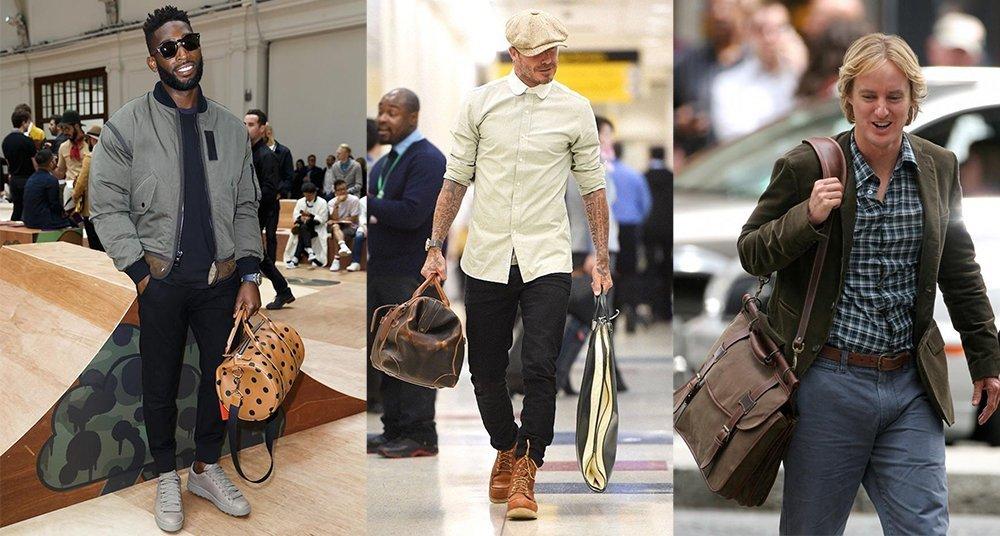 David Beckham, Owen Wilson wearing manbags