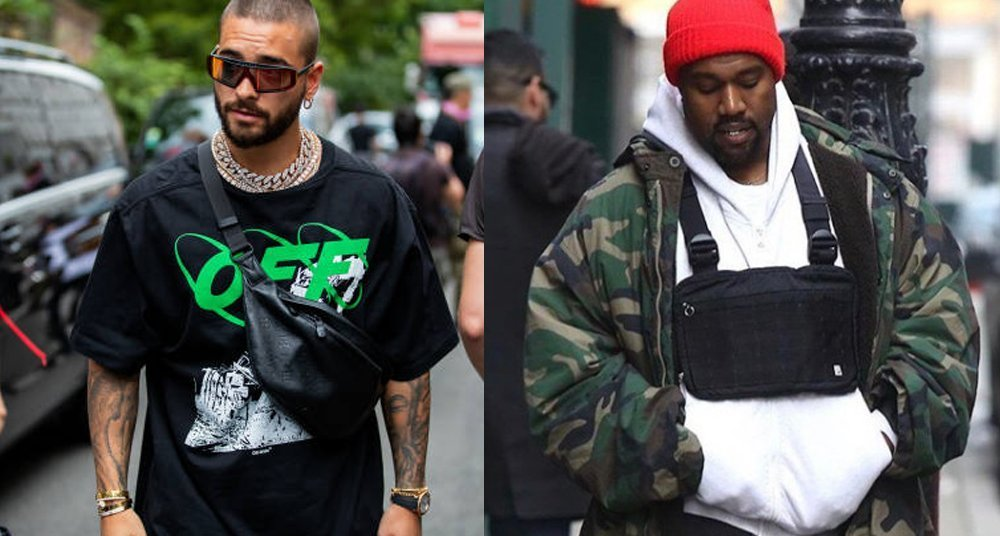 Maluma and Kanye West with chest bags