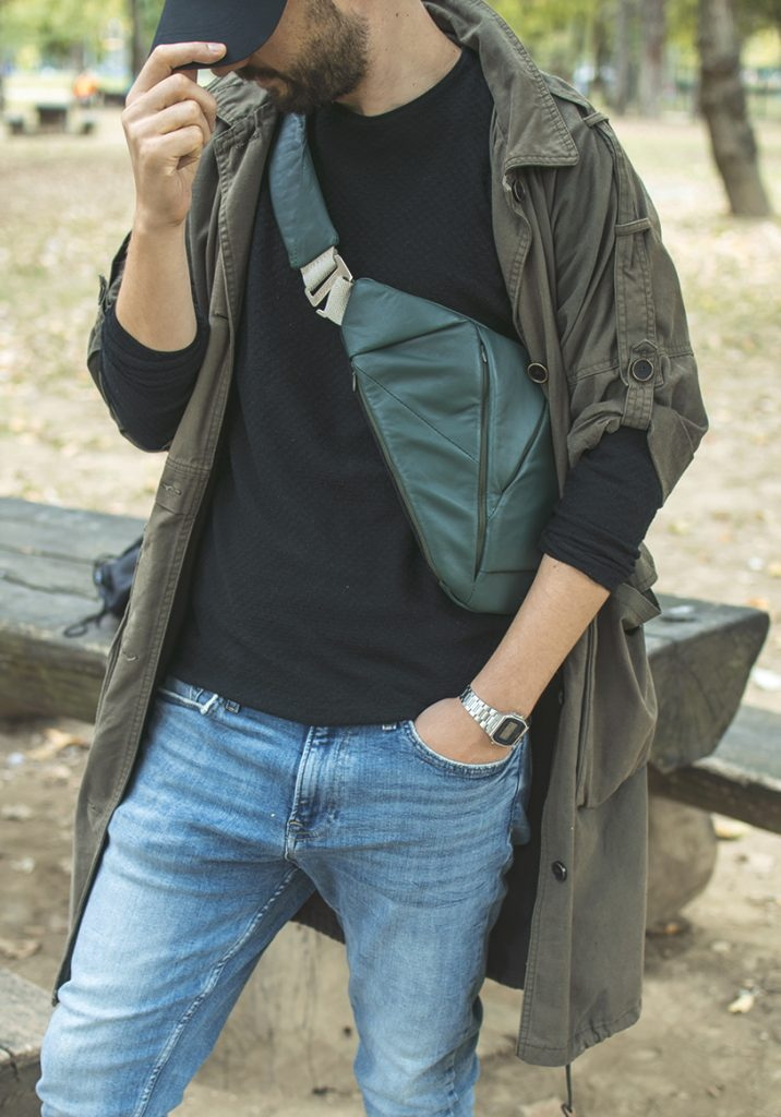 man wearing men's leather crossbody bag from baggizmo