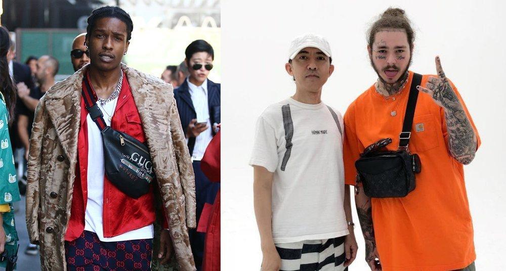 Asap Rocky and Post Malone wearing manbags
